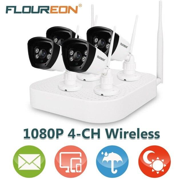 Floureon 4CH Wireless CCTV 1080P DVR Kit 4pcs Outdoor Wifi 720P IP ...