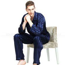 Męskie jedwabne piżamy z satynową Piżamą Set Bielizna nocna zestaw loungewear S M L XL 2XL 3XL 4XL Plus w paski czarny tanie tanio Mężczyzn Pajamas Kołnierz skrętu W MBig Regularne Pełne Z LONXU Przycisk Fly Lycra jedwab Casual