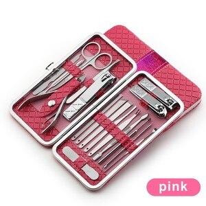 Image 4 - Juego de manicura de acero inoxidable 18 en 1, Kit profesional de cortaúñas para pedicura, cortador de uñas encarnadas