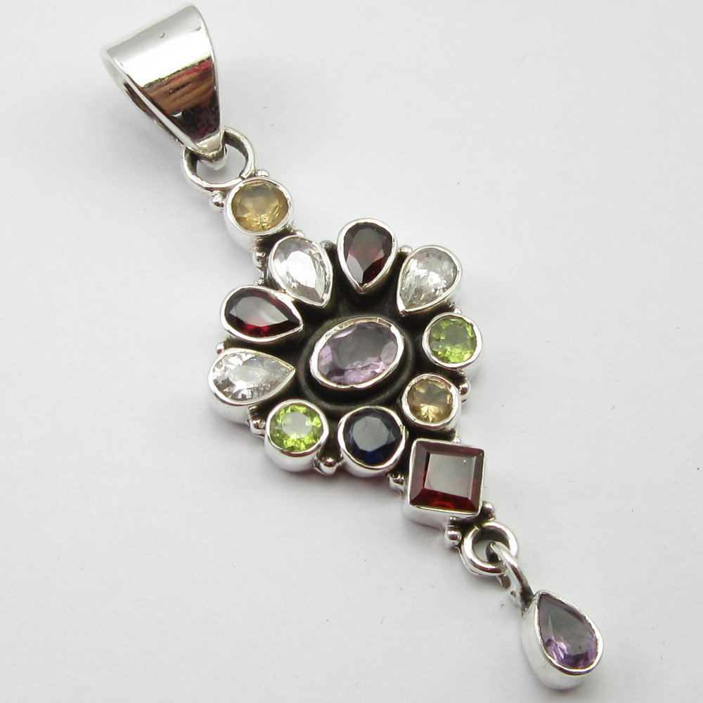 Silver Multishapes MULTISTONES Pretty Pendant 2.6 ! Gift For Mom