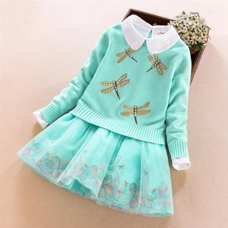 Children Girls Clothing Sets Autumn Winter Big girls 2Pcs Suit Sweater coat+Dress Outwear Cotton Kids Clothes 7 8 10 12 14 Years