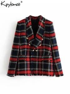KPYTOMOA Tweed Blazers Coat Women 2019 Plaid Ladies