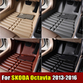Car Floor Mats for Skoda Octavia 2013-2016 years XPE+Leather Anti-slip car carpet Front & Rear Liner Auto Waterproof mat 4 color