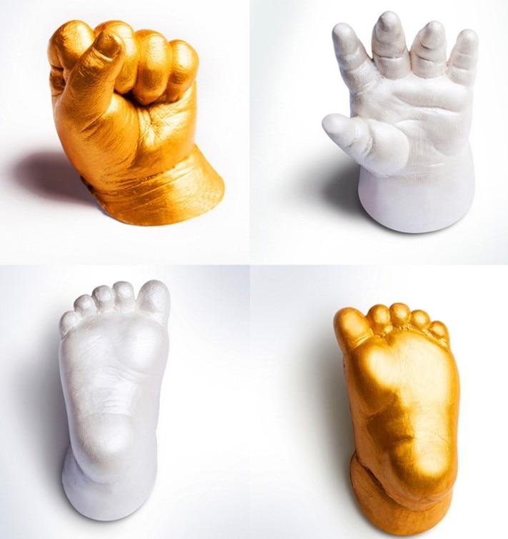 3D Baby Hand Foot Print Plaster Casting Kit Hand Model Foot Three-dimensional Baby Ink Pad Handprint Footprint Keepsake Gift