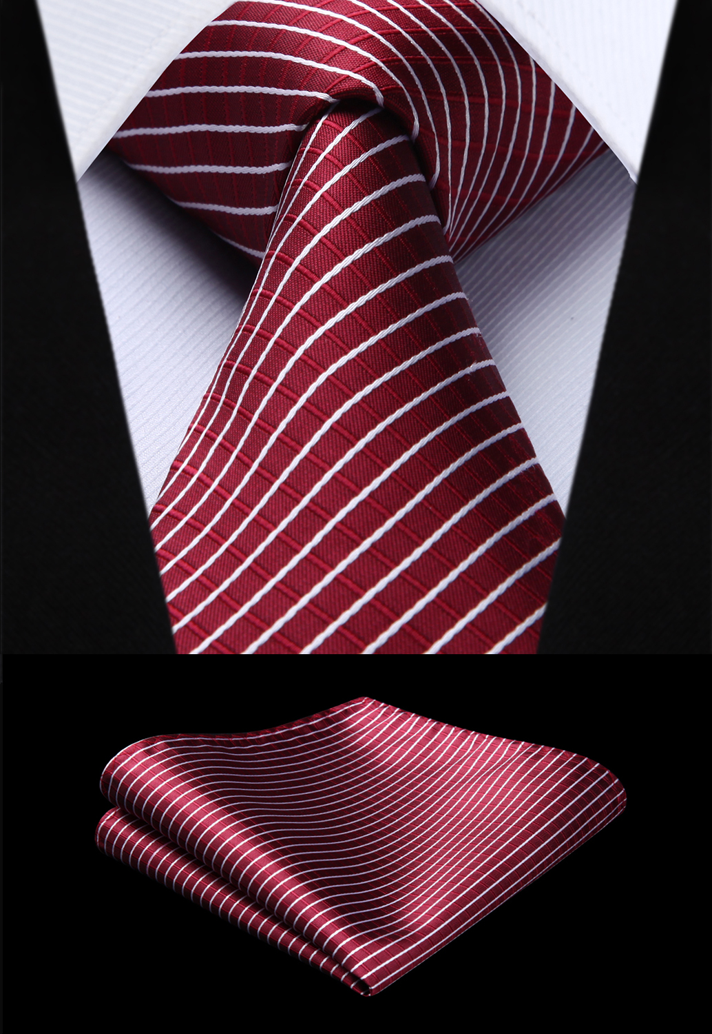 Party Wedding Classic Pocket Square Tie Woven Men Tie Fashion Burgundy Striped Necktie Handkerchief Set#TC718U8S