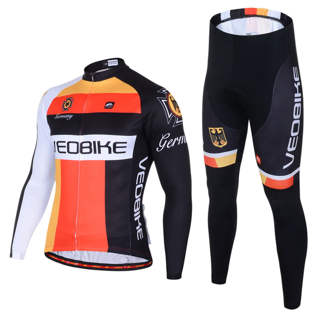 VEOBIKE Breathable German Pro Team 2018 Long Sleeve Cycling Jersey Set Mtb  Mountain Bike Clothing Autumn Bicycle Clothes 3D Gel 80342a225
