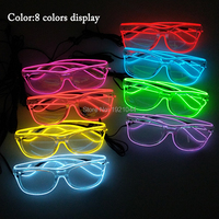 10pieces Wholesale Product EL Wire Glowing Glasses For Carnival Decoration Holiday DIY Props Decorative Glowing Sunglasses