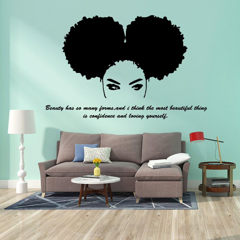Hot Beautiful Beauty Salon Africa Girl Tribal African Woman Decal Quote Home  Decor Bedroom Living Room Stickers|Wall Stickers| - AliExpress