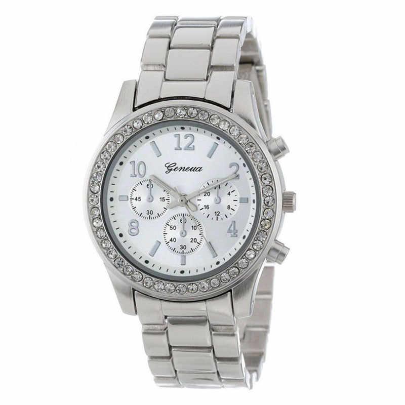 2018 sıcak satış relogio feminino 2 paket cenevre gümüş ve altın kaplama klasik yuvarlak bayanlar erkek arkadaşı İzle markalı kadın saatler
