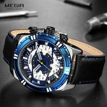 цена MEGIR 2019 Men's Chronograph Sport Watches Leather Strap Military Quartz Watch Man Relogios Masculino Clock Top Brand 2118 Blue онлайн в 2017 году