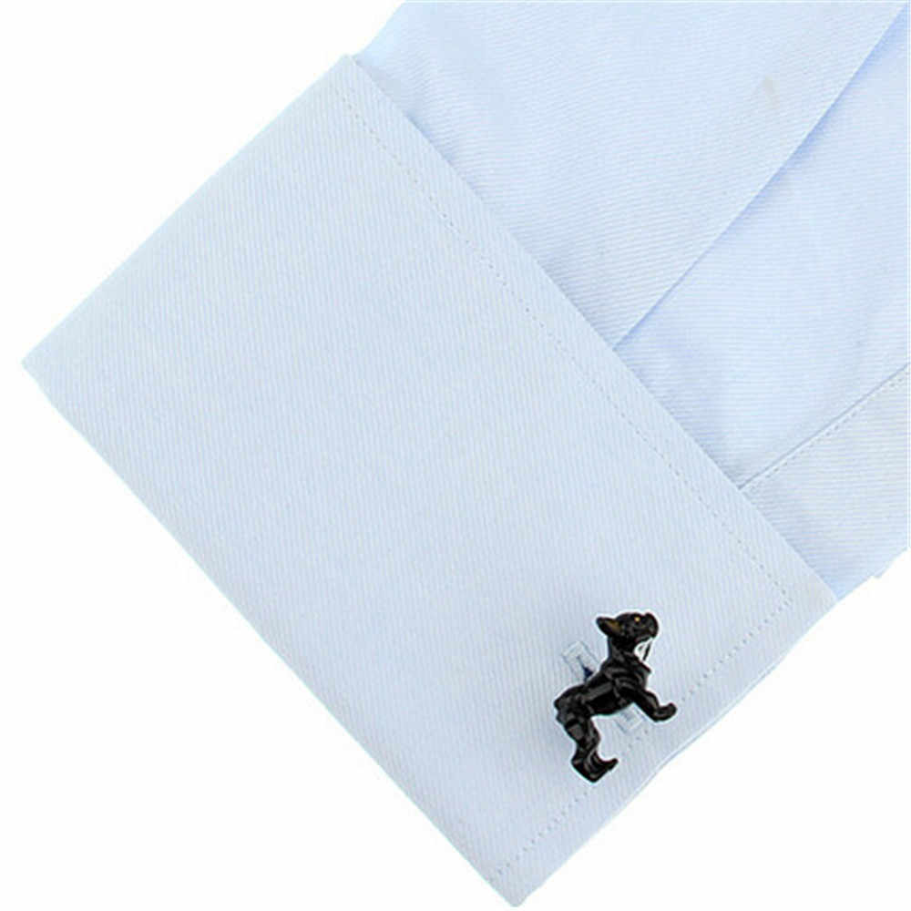 Maneira Deng-Par de Tinta Preta Bonito Bulldog Abotoaduras Para Os Homens Smoking Do Partido Do Evento Do Casamento Camisa Links Cuff Jóias presente-YC018