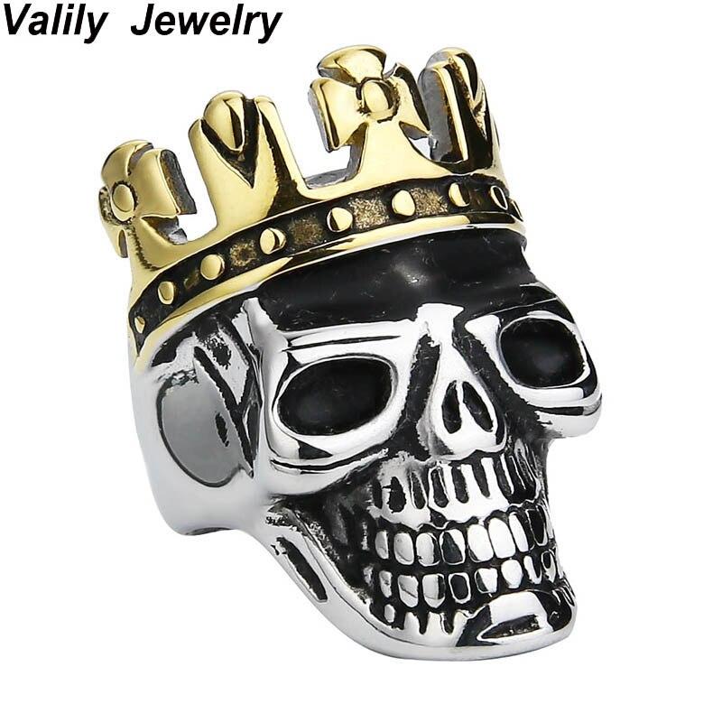 EdgLifU Hommes de Roi De Crâne Anneau En Acier Inoxydable Top Qualité De Mode D'or Croix Couronne Crâne Anneau Punk Anneaux pour hommes