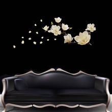 New Removeable Magnolia Flower DIY Mural Removable Wall Sticker For Vinilos Paredes Decals Living Room Home Decoration(China)