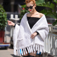 Women's Genuine Cross mink Real Knitted Mink Fur Scarves with Tassels Lady Wraps Winter Women Fur Shawls