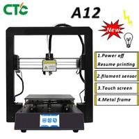 3D Printer A12 I3 Mega Power off Resume Printing Filament sensor Touch Screen Metal frame 3d Printer 3D Drucker Impresora Parts