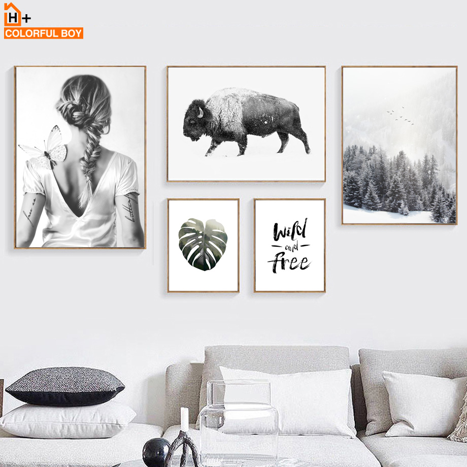 COLORFULBOY Nordic Style Leaves Cow Poster Print Minimalist Wall Art Canvas Painting Landscape Beautiful Girl Picture Home Decor