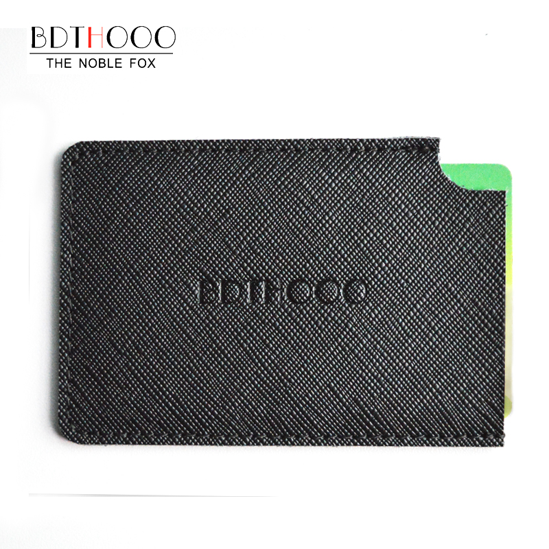TIANHOO Men Credit ID Card Holder Slim Wallet Mini Pocket Genuine Leather Handmade Sewing Black Card Pocket