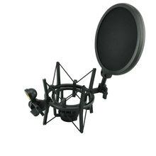SH 100 sıcak satış mikrofon Mic profesyonel şok dağı ile Pop kalkan filtre ekranı uzun iplik mikrofon
