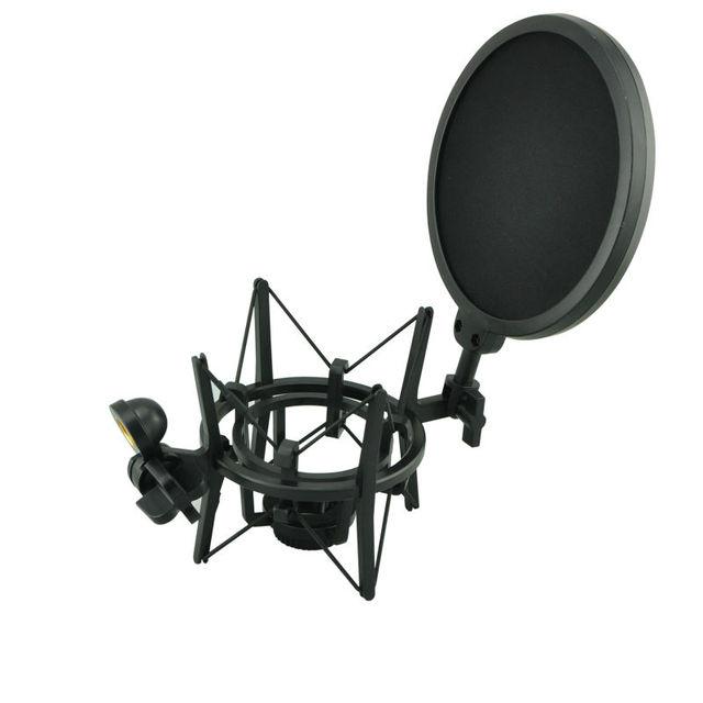 Sh 100 venda quente microfone microfone profissional montagem de choque com tela de filtro protetor pop para microfone de rosca longa