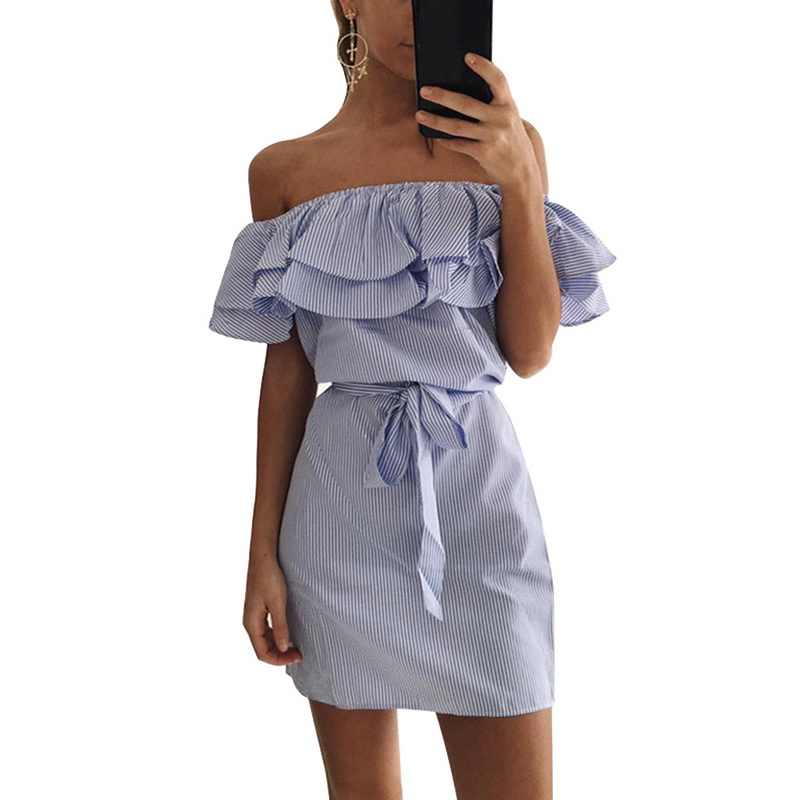 Sexy Off Shoulder Dress Women beach Strapless Striped print Ruffles tunic Sundresses Summer Mini party Dress Vestido  de verano