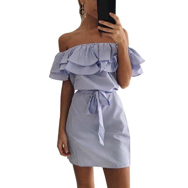 סקסי כבוי כתף שמלת נשים חוף סטרפלס פסים הדפסת ראפלס טוניקת שמלות קיץ קיץ מיני המפלגה שמלת Vestido דה verano