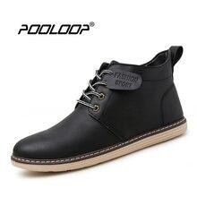 Pooloop новые осенние мужские Повседневное армейские Ботинки Кружева до модные кожаные ботинки без каблука Мужская водонепроницаемая обувь черные ковбойские ботильоны пинетки