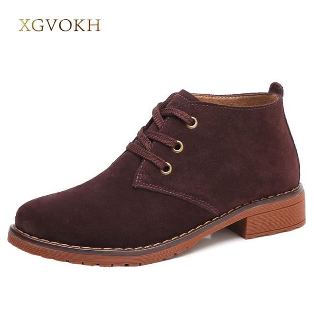 Xgvokh Для женщин кожаные ботильоны со шнурками Повседневное модные на толстом каблуке с квадратным носком Для женщин Обувь леди загрузки