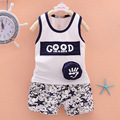 kids 2017 summer boys' letters 100% cotton sleeveless vest + shorts baby boy clothes