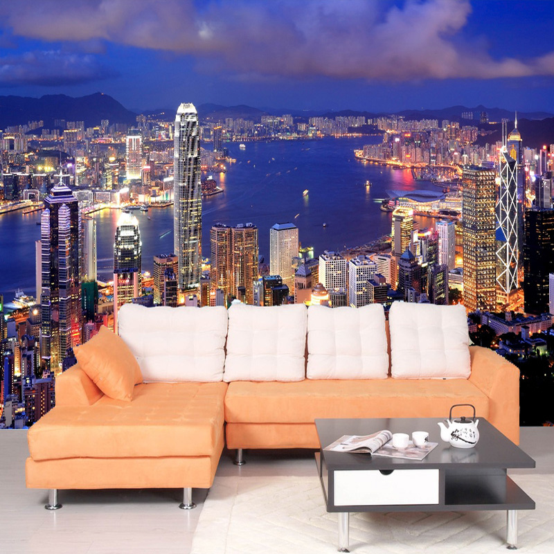 Custom Mural Wallpaper Beautiful City Building Night Landscape 3D Wall Murals Living Room Sofa Backdrop Wall Home Decor Frescoes