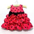 Costumes de natal Vestido do Ano Novo Para Crianças Polka Dot Vermelho vestidos Para As Meninas Bonito vestido de Baile vestido de Princesa Do Bebê Vestido Da Menina D058