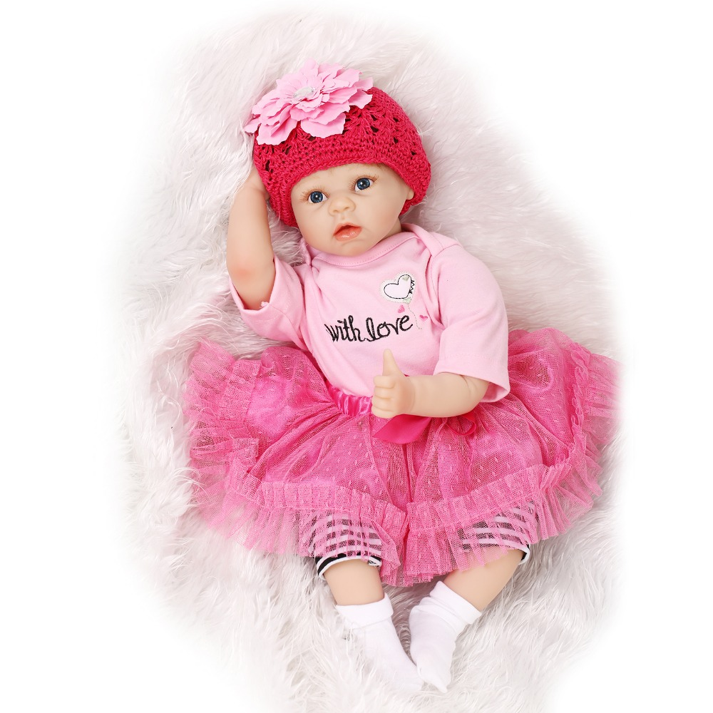 22inch 55cm Silicone baby-reborn dolls, lifelike real girl baby reborn toys  pink princess bebe gift reborn boneca brinquedos
