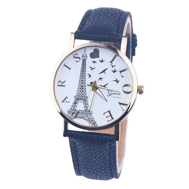 Duobla PARIS I LOVE Eiffel Tower Pattern Leather Men Women Watches Fresh New Style Woman Wristwatch Lady Watch Hot Sale 2019 30Q
