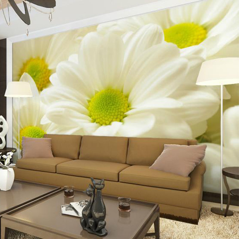 Simple Dining Room Design: Modern Simple Flower Mural 3D Wallpaper Living Room