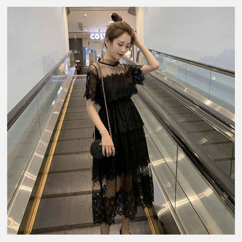 06f66af7e6fec Güney Kore yaz kadın giyim örgü iplik almak için bel uzun dantel kısa kollu  elbise perspektif