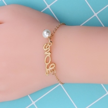 HUMANO FINO 2 Colors Hollow Letter Love Bracelet For Couples Bangle Pearl Gold Silver Women Trendy Minimalist Simple Gift