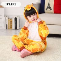 Pijama Infantil Onesie Hooded Kids Animal Cartoon Pajama Giraffe Orange Children Boy Girl Unisex Pyjama