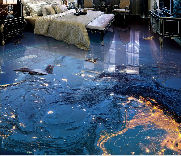 ФОТО custom 3d flooring bedroom Galactic cosmic Earth 3d floor mural wallpaper rolled vinyl flooring waterproof 3d wallpaper