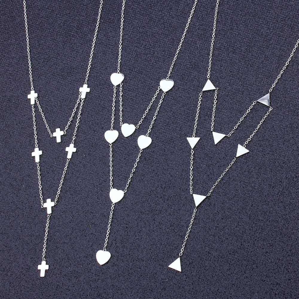 ZUUZ длинное ожерелье из нержавеющей стали для женщин ювелирные аксессуары цепь чокер серебро золото кулон длинное эффектное ювелирное сердце