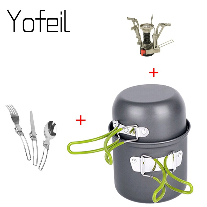 лучшая цена Outdoor Hiking Camping Cookware Set 1-2 Persons Portable Cooking Tableware Picnic Set Pot Pans Bowls With Dinnerware Gas stove