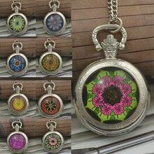 wholesale style quartz colourful basic flower pocket watch necklace girl black silver spherical convex lens glass image reward