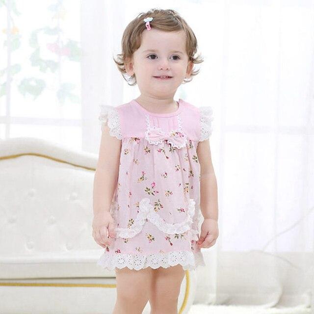 Девочки Платье, Розовый Цветочный Принт Летнее Платье, Модный Бренд Детей Платья Принцесс, Дети Одежда (18 moths-3 лет)