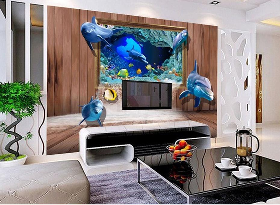 Monde Sous Marin Cadre Trois Dimensions Fond Mur Salon Style