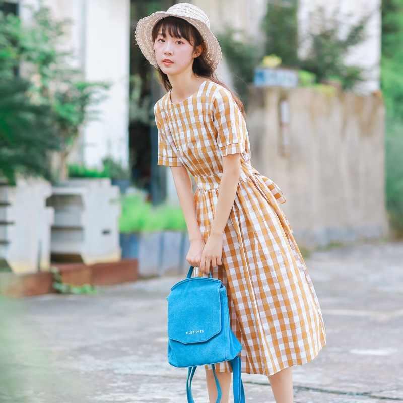 Mori girl летнее платье миди в клетку 2019 Новое поступление модное женское повседневное хлопковое льняное платье с круглым вырезом элегантное женское платье vestidos