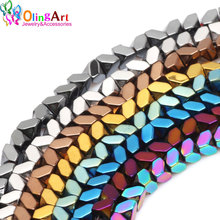 3MM 130pcs/lot Triangle faceted bead metal mixed color AAA quality Natural Hematite Stone beads DIY Necklace Jewelry Making