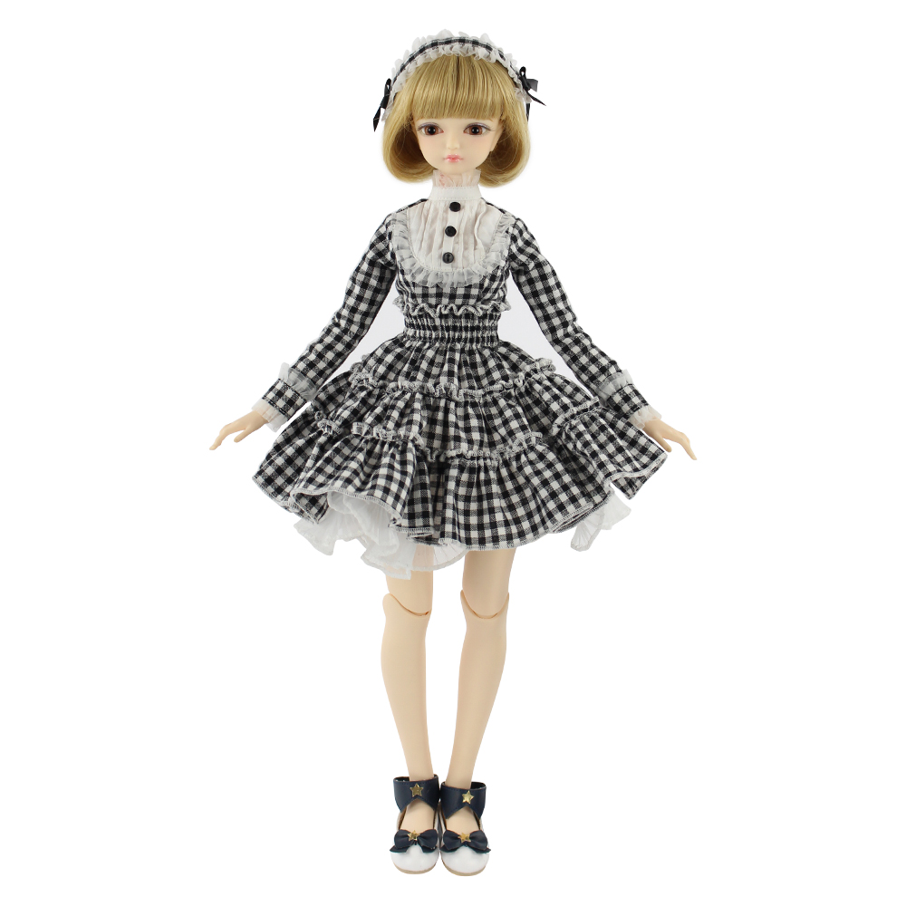 free shipping fortune days 1/4 bjd doll 45cm with Plaid dress with hairband clothes shoes wig makeup combination MMGIRL BJD DOLL 1