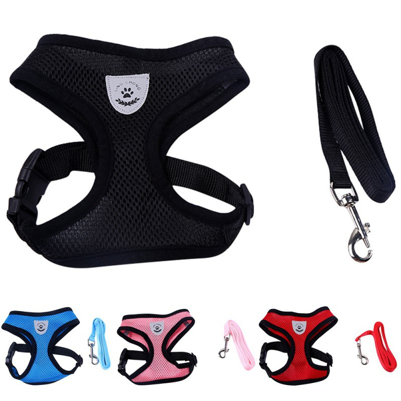 Breathable Mesh Small Dog Pet Harness and Leash Set Puppy Vest Pink Red Blue Black For Chihuahua New Pets Dog Harnesses