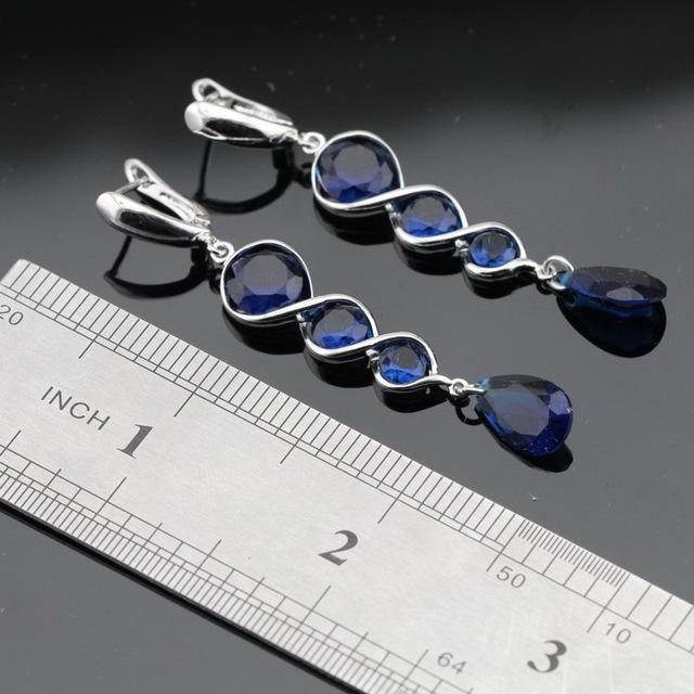 Dark Blue Sapphire Jewelry Set