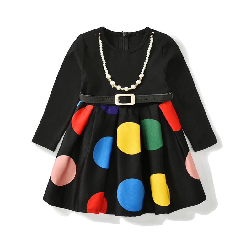 Autumn Winter Girls Dress New Style Long Sleeve Children Clothing Colorful Dot 2 3 4 5 6 7 Year Kids Dresses for Girls