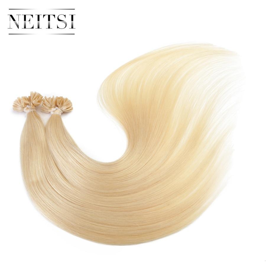 Neitsi Straight Brazilian Keratin Human Fusion Մազերի - Մարդու մազերը (սպիտակ) - Լուսանկար 3