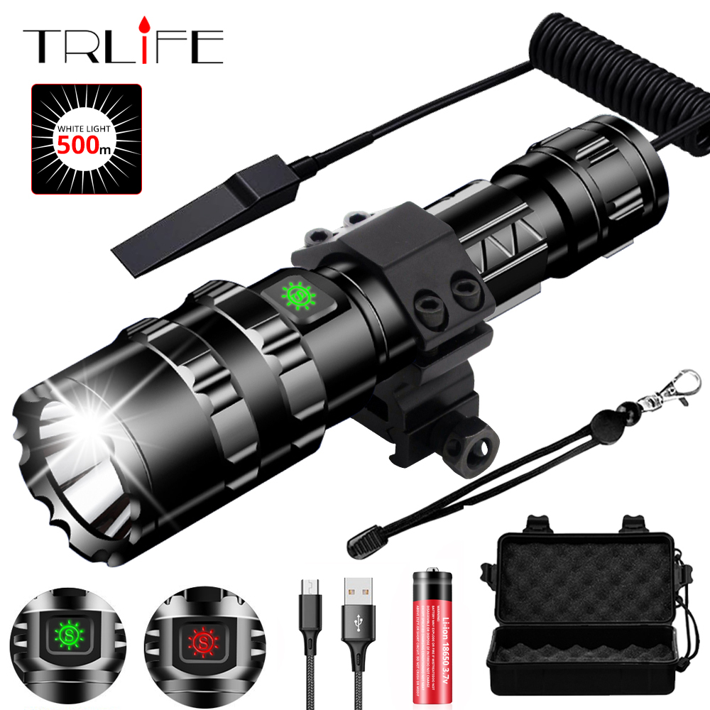 Tactical Flashlight LED Scout L2 Ultra Bright Hunting Fishing Light USB Rechargeable Waterproof Torch 5 Modes By 1x18650